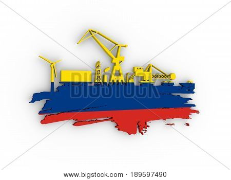 Energy and Power icons set and grunge brush stroke. Energy generation and heavy industry relative image. Flag of the Colombia. 3D rendering