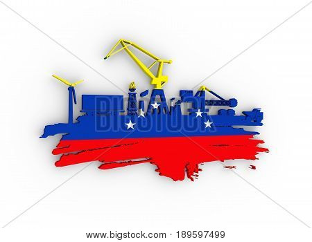 Energy and Power icons set and grunge brush stroke. Energy generation and heavy industry relative image. Flag of the Venezuela. 3D rendering
