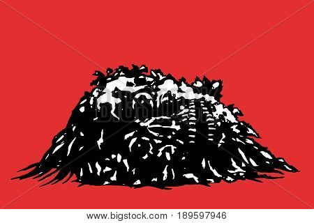 Horror skull lies in a pile of purulence. Vector illustration. Red background.