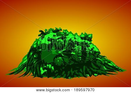 Dead head lies in a pile of purulence. Vector illustration. Orange background.