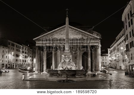 Pantheon at night street view. It is one of the best-preserved Ancient Roman buildings in Rome, Italy.
