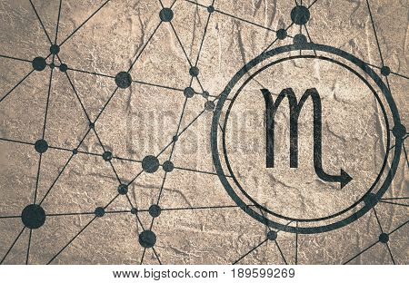 Zodiac symbol in circle. Concrete grunge texture. Molecule And Communication Background. Connected lines with dots. Modern brochure, report or cover design template. Scorpion sign.