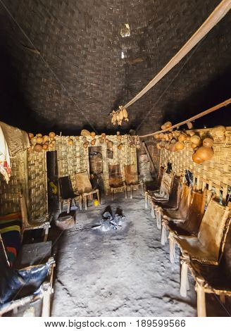 Inside Traditional Dorze House. Hayzo Village, Omo Valley, Ethiopia