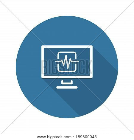 Cardiogram and Medical Services Icon. Flat Design. Isolated.