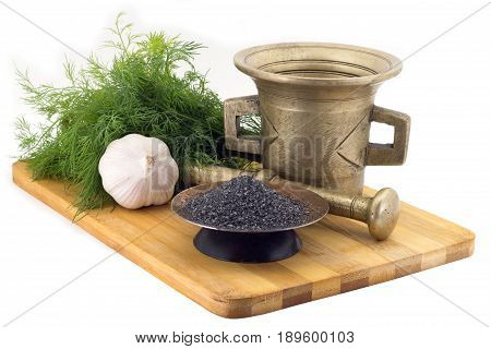 Composition Of Spices, Black Salt, Dill, Garlic, Vintage Spice Grinder Isolated On White Background
