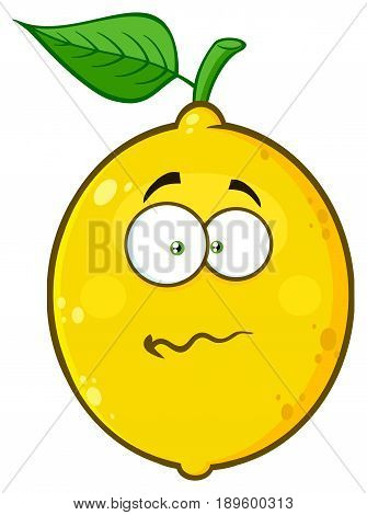 Nervous Yellow Lemon Fruit Cartoon Emoji Face Character With Confused Expression. Illustration Isolated On White Background