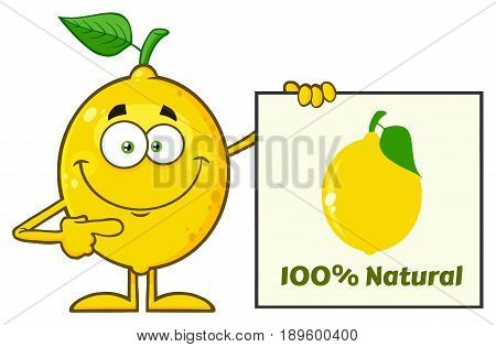 Smiling Yellow Lemon Fresh Fruit With Green Leaf Cartoon Mascot Character Pointing To A 100 Percent Natural Sign. Illustration Isolated On White Background