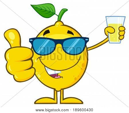Lemon Fresh Fruit With Green Leaf Cartoon Mascot Character Holding A Glass Of Lemonade And Giving A Thumb Up