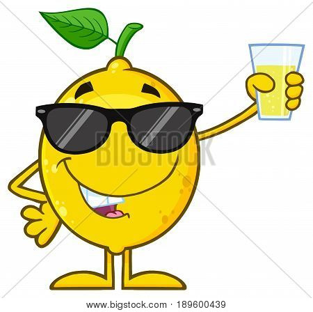 Lemon Fresh Fruit With Green Leaf Cartoon Mascot Character With Sunglasses  Holding Up A Glass Of Lemonade. Illustration Isolated On White Background