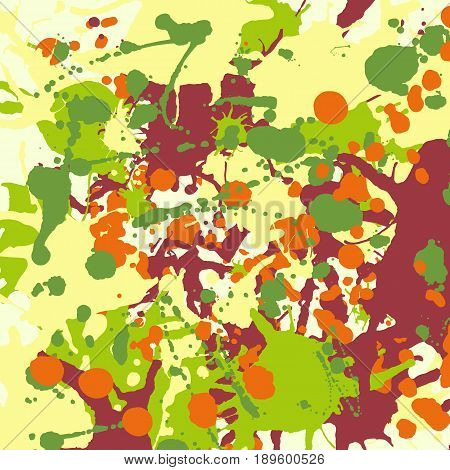 Maroon orange yellow green ink paint splashes vector colorful background square