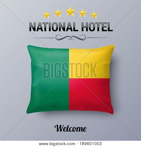 Realistic Pillow and Flag of Benin as Symbol National Hotel. Flag Pillow Cover with Beninese flag