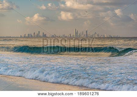 Gold Coast Skyline View From Coolangatta Beach