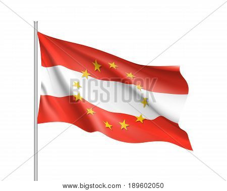 Austria national waving flag with a circle of European Union twelve gold stars, identity and unity with EU, member since 1 January 1995. Realistic vector illustration