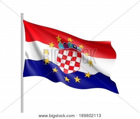 Croatia national waving flag with a circle of European Union twelve gold stars, political and economic union with EU, member since 1 July 2013. Realistic vector illustration