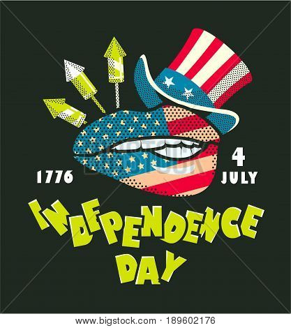 Vector illustration Independence day of America colored beade on black background hat of uncle Sam and lips with national flag