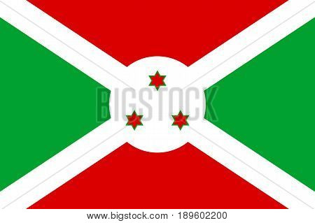 Flag Republic of Burundi. Patriotic sign african country in official national colors and proportion correctly. Patriotic sign Eastern Africa state. Vector icon illustration