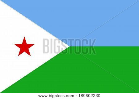 National flag Republic of Djibouti. Patriotic sign african country in official djiboutian colors and proportion correctly. Patriotic sign Eastern Africa state Vector icon illustration