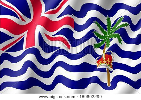 Waving vector lag of British India Ocean Territory. Patriotic sign of territory under the jurisdiction and sovereignty of the United Kingdom with British crow and palm tree in official colors.