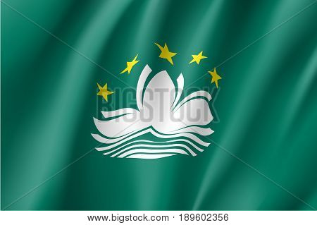 Waving flag of Macau. Patriotic macanese sign in official colors. Macao symbol is Special Administrative Region of the People's Republic of China. Vector illustration