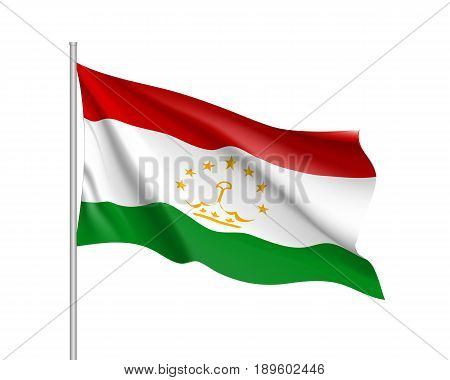 Waving flag of Tajikistan Republic. Illustration of Asian country flag on flagpole. Vector 3d icon isolated on white background