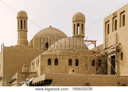 Ancient clay city. Tourist reconstruction. Ancient city