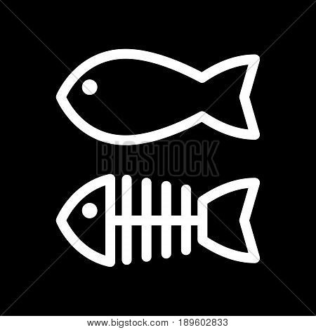 Fish and skeleton simple vector icon. Black and white illustration of fish bones. Outline linear icon. eps 10