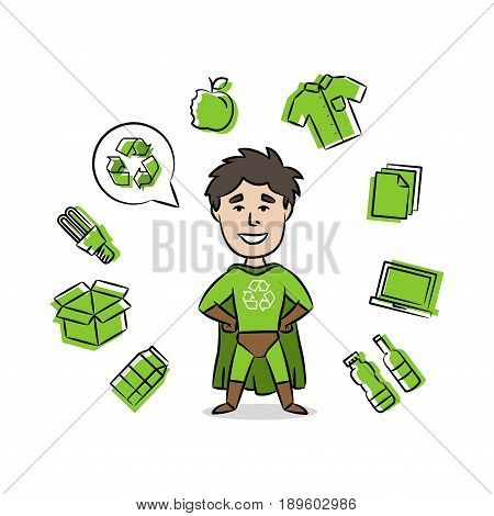 Superhero with recycle sign vector illustration. Recycling creative concept with cartoon character and dustbin.