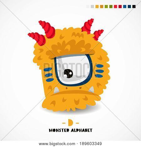 Monster alphabet. Letter D. Strange animal. Vector illustration on white background. Great children's print. The concept of a kid's toy.