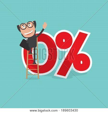 Businessman Reach A Zero Percent Interest Symbol Vector Illustration. EPS 10