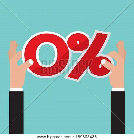 Hand Catch A Zero Percent Interest Symbol Vector Illustration. EPS 10