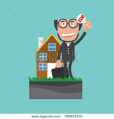 Businessman Show Bidding Offer Of The Property Vector Illustration. EPS 10