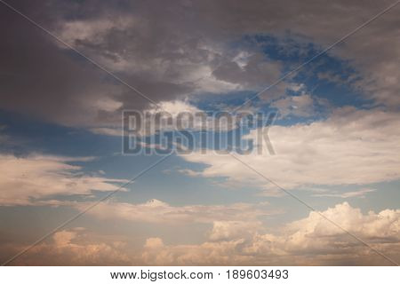 Sunset sky with beautiful clouds. Natural background