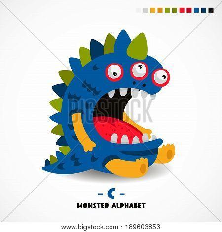 Monster alphabet. Letter C. Strange animal. Vector illustration on white background. Great children's print. The concept of a kid's toy.