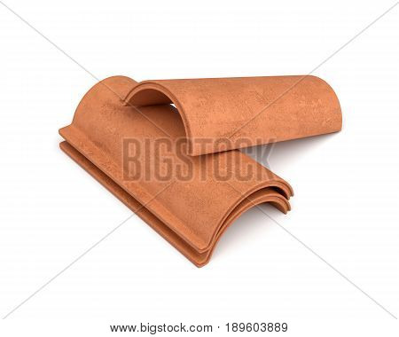 3d rendering of a small group roof tiles lying in front view isolated on white background. Roof building. Construction supplies. Traditional building materials.