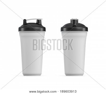 3d rendering of two white water shakers with black covers in side and front views on white background. Fitness accessories. Kitchenware. Healthy eating.