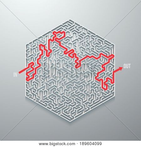 Illustration of Vector Maze Icon. Antique Labyrinth Game Puzzle with Solution
