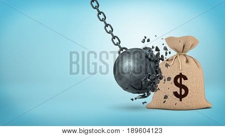 3d rendering of a large wrecking ball hitting a big hessian money bag and breaking itself. Money insurance. Crisis-proof investment. Protection from failure.