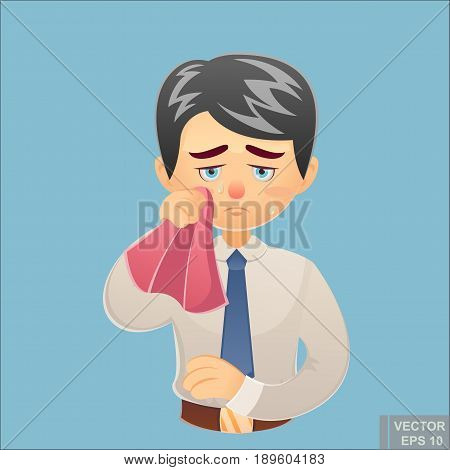 Vector - Cartoon Funny Crying Young Businessman Wipes His Tears With A Handkerchief Illustration