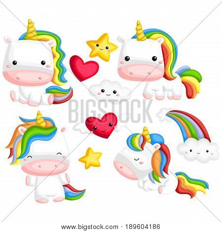 a rainbow colored unicorn with many poses