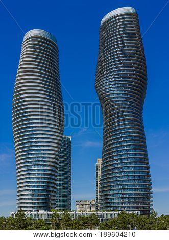 Modern skyscrapers with unusual architecture at Mississauga. Canada