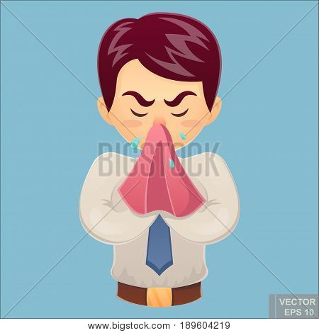 Vector - Sick Businessman. Unhappy Character. Vector Cartoon Illustration. Man With Handkerchief In
