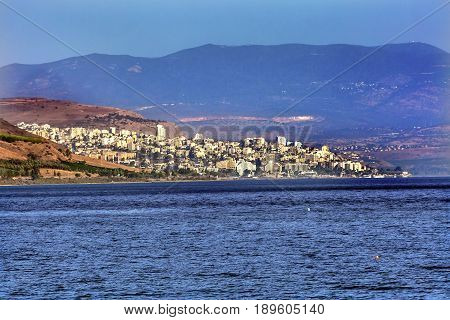 Sea of Galilee Israel Tiberias in distance. Tiberais was a Roman City which could be seen by the Christians.