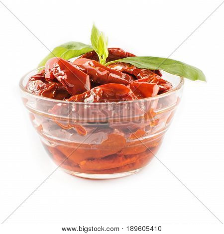 Italian Appetizer - Sundried Tomato In Bowl On The White Background