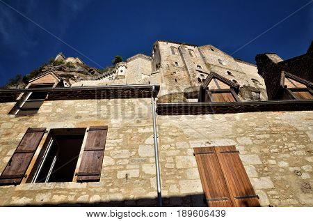 Rocamadour, one of the most beautiful village in France, the main street, below the sanctuary