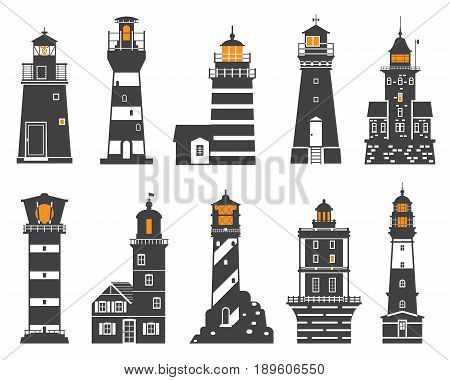 Monochrome lighthouse icon set. Different sea guiding light houses buildings. Sea pharos or beacon collection isolated on white background. Searchlight tower icons of various types in outline design.