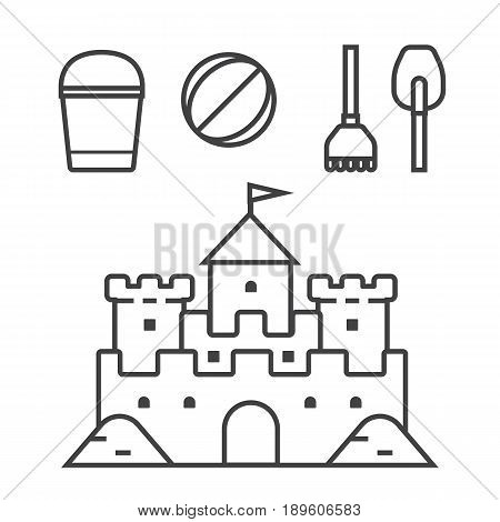 Beach toys and sand castle vector illustration. Child pail, shovel, ball and rake thin line icons. Children summer games and activities appliances in outline design. Sandcastle linear pictogram.