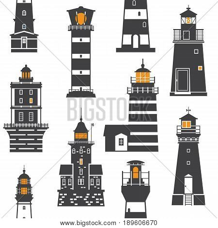 Monochrome lighthouse pattern. Different sea guiding light houses seamless background. Sea pharos or beacon  maritime backdrop in black and white. Searchlight tower of various types in outline design.