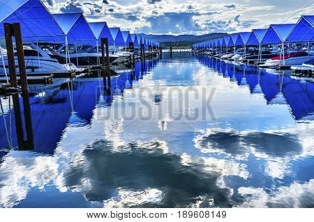 Blue Covers Boardwalk Marina Piers Boats Reflection Lake Coeur d' Alene Idaho