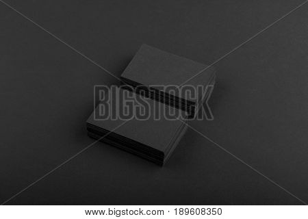 Black Business Cards Isolated On Black Background