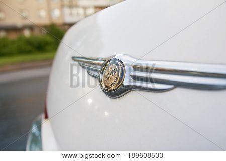 Kazan, Russia - June 1, 2017 - logo of the brand Chrysler at limousine - close up